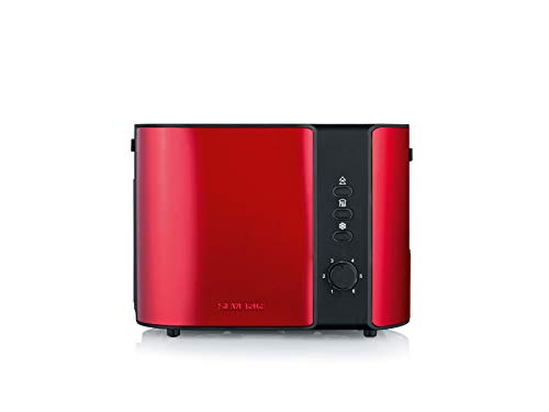 SEVERIN AT 2217 Automatik-Toaster (ca. 800 W, Für 2 Scheiben, Integrierter Brötchen-Röstaufsatz) fire red metallic /schwarz