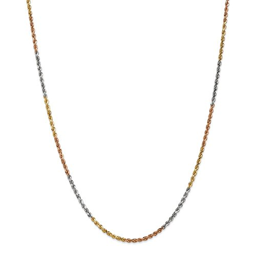Collana a catena in oro massiccio 14 ct, 2,5 mm, lunghezza 40,6-61 cm, per uomo e donna e Oro tricolore, colore: Multi, cod. UK-018TC-18