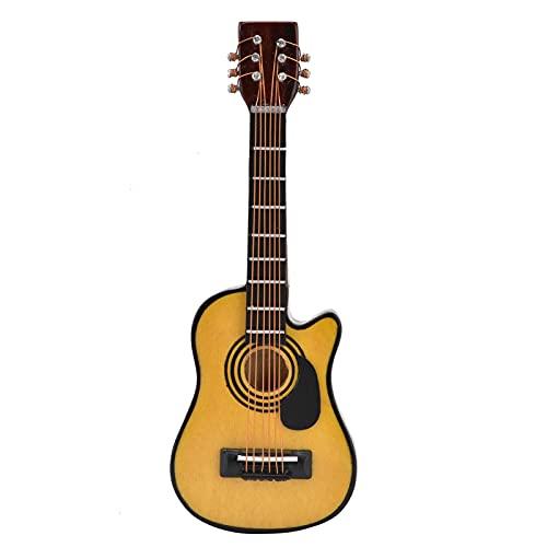CUEA Guitarra en Miniatura de casa de muñecas, Bordes Lisos, Escala 1/12, Modelo de Guitarra de Madera Duradera para Cajas de habitación para Casas de muñecas(Folk Pop Guitar, Blue)