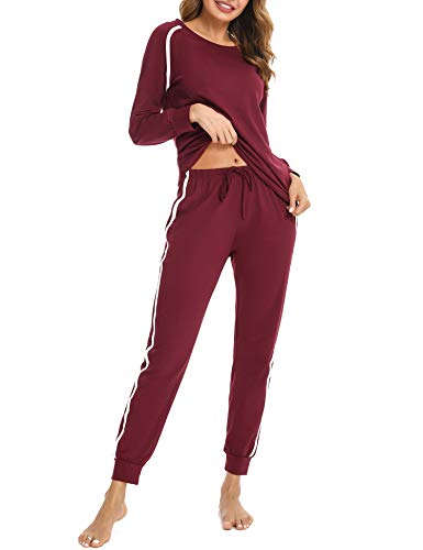 Aibrou Sportanzug Damen Set, Zweiteiler Damen Jogginganzug Baumwolle Trainingsanzug Jogginganzug Langarm Hausanzug Stil 1:Weinrot XL