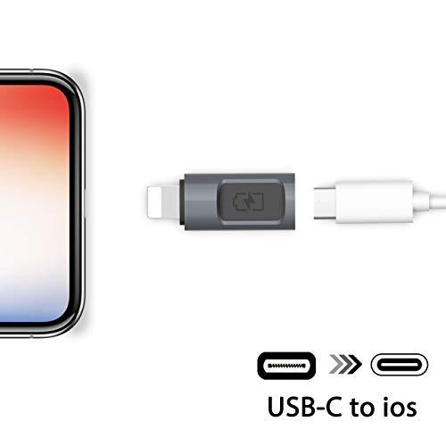 Stouchi Adaptador de iOS a USB C, Tipo C (Hembra) a iOS (Macho) Adaptador USB C Convertidor Cargador Compatible para iPad, iPhone X/ 8/7 Plus /6 Plus/5/5s Carga rápida MAX Salida 5 V 2,4 A