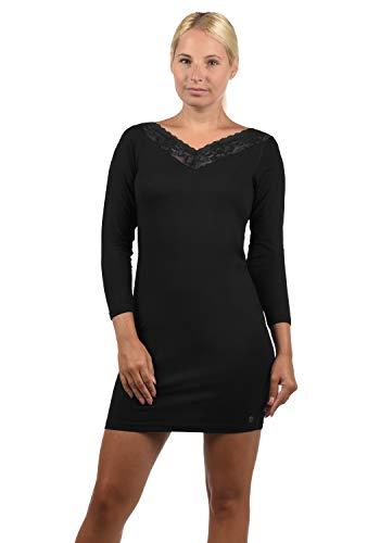 DESIRES Jess Damen Jerseykleid Sweatkleid Sommerkleid Mini-Kleid Mit V-Ausschnitt Strech Knielang, Größe:XS, Farbe:Black (9000)