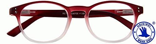 I NEED YOU RETRO, G36700, Panto leesbril met veertechniek, rood, 1,5 dioptrieën