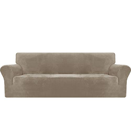 MAXIJIN Dicker Samt Extra große Sofabezüge 4-Sitzer Super Stretch Rutschfester übergroßer Sofabezug für Hunde Cat Pet 1-teiliger XL-Sofabezug elastischer Möbelschutz (4 Sitzer, Khaki)