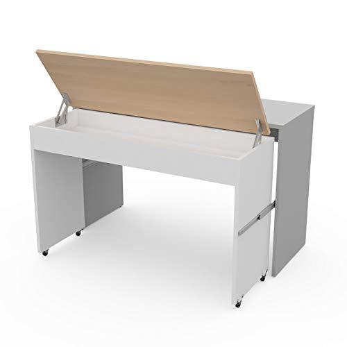 LEVIRA – Mesa Extensible, Mesa de Oficina, Escritorio, Thur - 120 x 74 - Gris