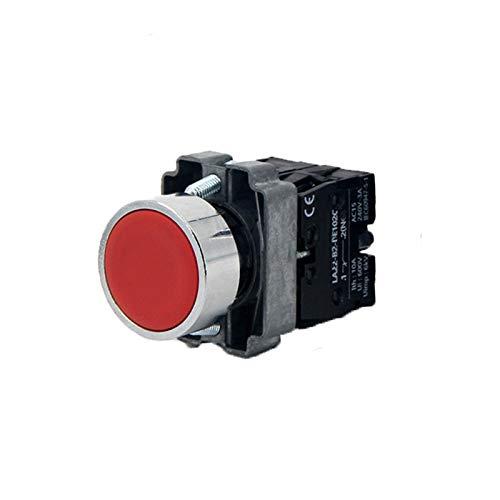 POWERTOOL - Interruptor de botón plano para encendido y apagado automático (plástico, redondo, interruptor momentáneo, interruptor de encendido/apagado electromagnético, contactor, relé (1 NC, rojo)