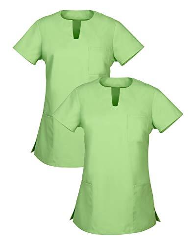 CLINIC DRESS Schlupfkasack Doppelpack Kasacks für Damen mit Brusttasche Halbarm 95° Wäsche apfelgrün XL