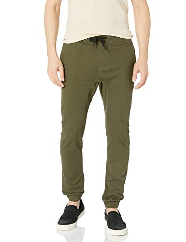 Southpole Men's Basic Stretch Twill Jogger Pants-Reg and Big & Tall Sizes, Olive, Large
