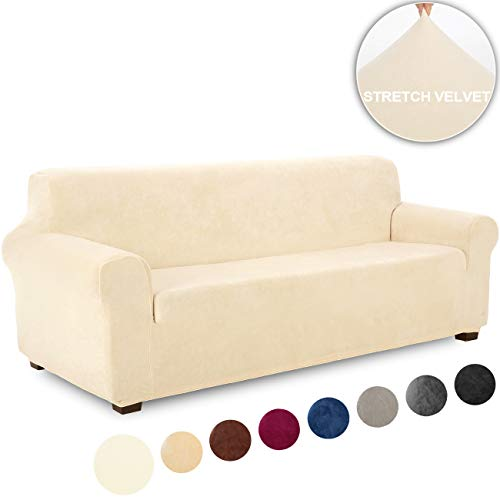 TIANSHU Velvet XL-Sofa Furniture Cover Plush Stylish Sofa Slipcover Stretch Furniture Protector 1-Piece Stretch Sofa Cover for 4 Seater Cushion Couch Extra Large Sofa Covers(XL Sofa,Ivory)