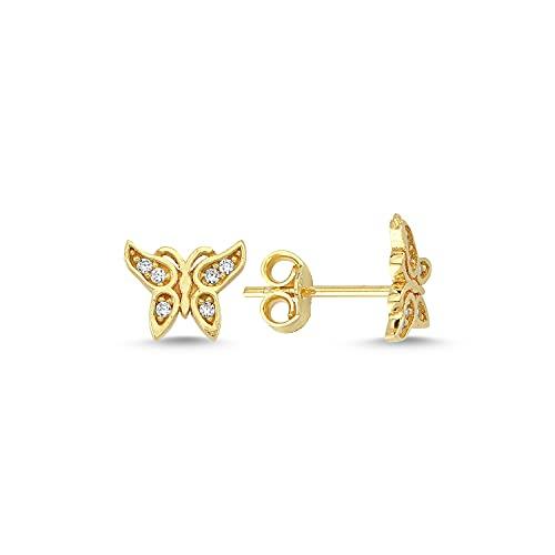 Pendientes de mariposa de oro de 14 k (585)