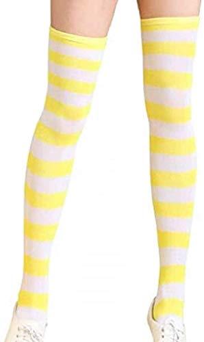 Medias de rayas amarillas de microfibra para mujer