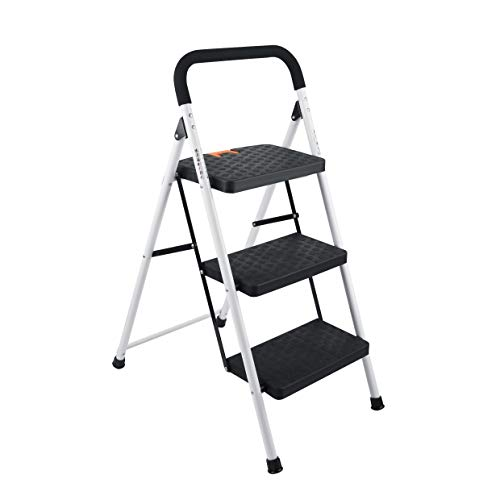 TIRI SMART 3 Step LadderFolding Step Stool with Wide AntiSlip Pedal and Plastic Steps 330lbs Capacity Black