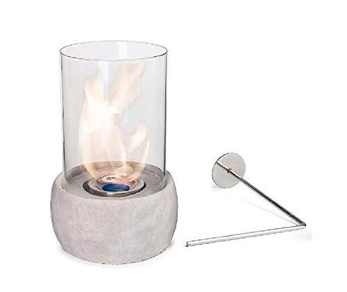 Glasfeuer Stone Tischkamin Feuerstelle Kamin Tischfeuer Bio Ethanol (Hellgrau)