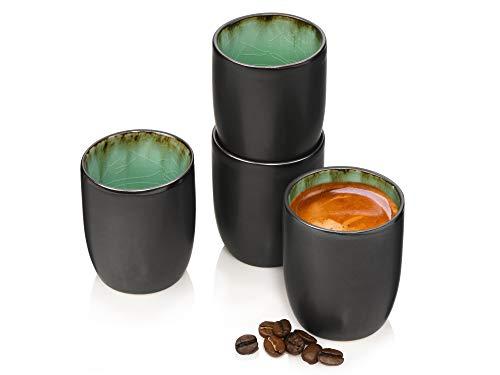 Sänger Espressobecher Set Palm Beach 4 teiliges Tassen-Set für 4 Personen aus Steingut, Espressotassen Füllmenge: 100 ml, erweiterbar, Alltag, besonderes Dinner, Frühstück, Outdoor Becher-Service