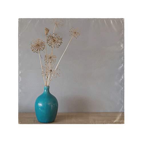 RAUP Satin Servietten 6er Set, schöne getrocknete Blumen Zwiebel Zwiebeln Allium, quadratische gedruckte Party, Abendessen Stoff Servietten, 20