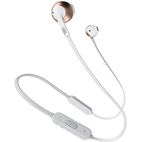 JBL T205BT by Harman Pure Bass Wireless Metal Earbud Headphones with Mic (Rose Gold)
