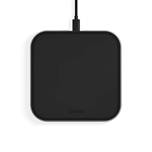 ZENS Qi-zertifiziertes kabelloses Aluminium Lade-Pad, Unterstützt Fast Wireless Charging mit bis zu 10 Watt - Funktioniert mit allen Geräten mit kabellosem Laden