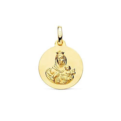 Medalla Oro 18K Virgen Del Carmen 16mm. Lisa [Ac0958Gr] - Personalizable - Grabación Incluida En El Precio