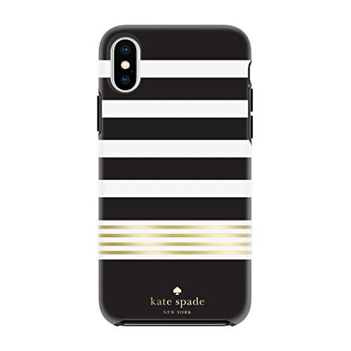 kate spade new york Black/White/Gold Stripe 2 Case for iPhone X/XS - Defensive Hardshell