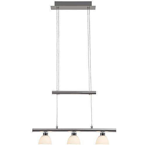 Brilliant Tonja Pendelleuchte, 3-flammig, höhenverstellbar, LED integriert, 3x 5 W, 338lm, 3000K, Metall Glas, chrom/weiß G70579/15