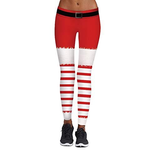 Pretrend Damen Leggings mit elastischem Band und Weihnachtsmuster - Rot - Large/X-Large