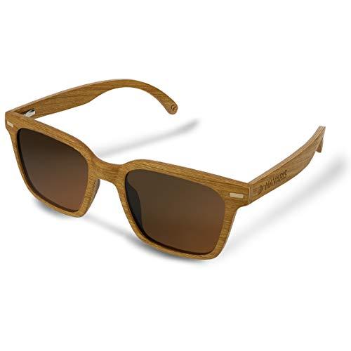 Navaris Gafas de sol de madera filtro UV - Marco de madera multicapa - Lentes polarizadas - Estuche de corcho - Gafas de sol retro unisex - Marrón