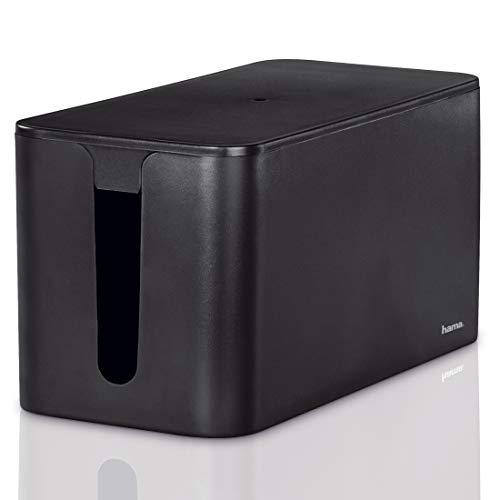 """Hama Kabelbox """"Mini"""" mit Deckel & Gummifüßen (Organizer zur Vermeidung von Kabelsalat, Aufbewahrungsbox zum Verstecken von Steckdosenleisten, Adaptern & Kabeln, Schutz von Kindern & Tieren) schwarz"""