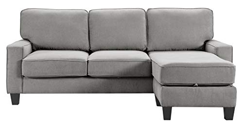 """Serta UPH10135D Palisades Sofas with Storage Modern Design, Track Arms, Foam-Filled Cushions, Easy-to-Clean Fabric Upholstery, 86"""" Sectional, Soft Gray"""