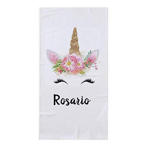 Gbcyp Trendy Floral Peronalized Gifts Keuken Badkamer Handdoek voor Bad Eenhoorn Gezicht Wimper Zwembadhanddoek, D Let op de naam, 70x140cm