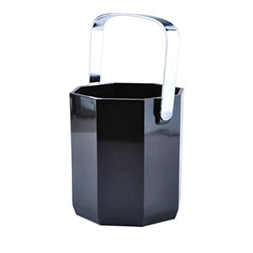 AWJ 1 litro de acrílico Negro Octogonal Cubo de Hielo de plástico para el hogar Cubo de champán Barra de Hotel Utilidad