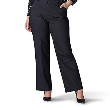 Lee Women s Plus Size Flex Motion Regular Fit Trouser Pant Black 16W Medium