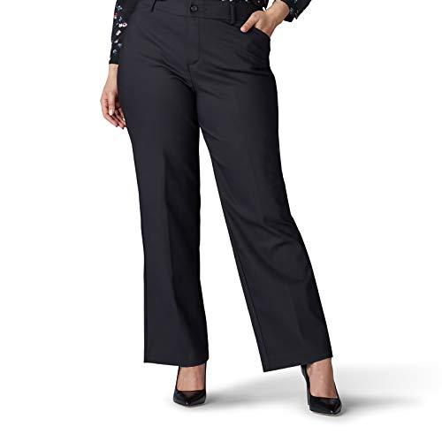 Lee Women's Plus Size Flex Motion Regular Fit Trouser Pant, Black, 22W Long