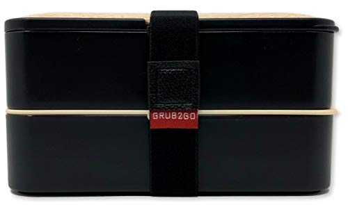 Product Image 5: THE ORIGINAL Japanese Bento Box (Upgraded 2020 Black & Bamboo Design) w/ 2 Dividers + Larger Utensils w/Holder – Leakproof Lunch Container