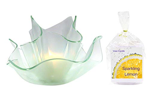 Sparkling Lemon Clear Satin Vase Dish Set | 2 Premium Soy Paraffin Wax Blend Candle Refills | 100 Hour Total Burn Time | Highly Scented | Self-Trimming Wick | Fresh Poured