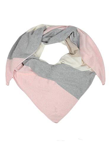 Cashmere Dreams Dreieckstuch mit Kaschmir - Hochwertiger Schal mit Streifen für Damen Jungen und Mädchen - XXL Hals-Tuch und Damenschal - Strick-Waren für Sommer und Winter Zwillingsherz - rosa