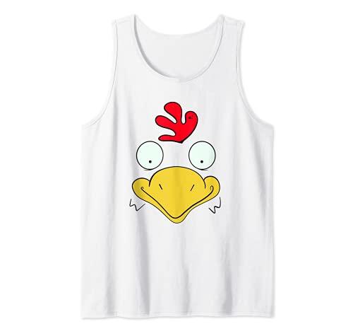 Cara de pollo, disfraz de Halloween perezoso, gallina blanca Camiseta sin Mangas