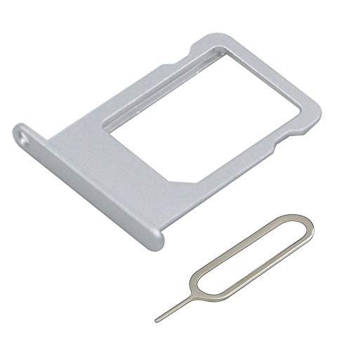 MMOBIEL SIM Card Tray Slot Replacement Part Compatible with iPhone 6 Plus 5.5 Inch (Silver) incl Sim pin
