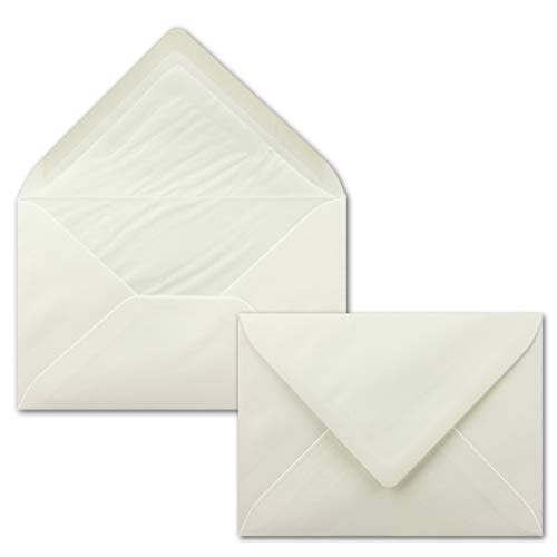 50 Brief-Umschläge Natur-Weiß - DIN C6 - gefüttert mit weißem Seidenpapier - 100 g/m² - 11,4 x 16,2 cm - Nassklebung - NEUSER PAPIER