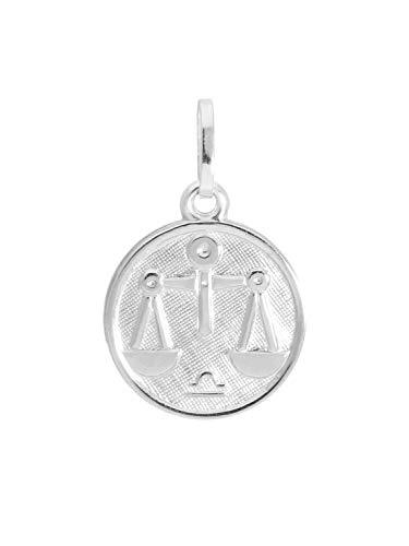 MyGold sterrenbeeld hanger weegschaal (zonder ketting) Sterling zilver 925 Klein Ø 12mm Mini rond dierenriemteken Horoscoop kettinghanger zilveren hanger geschenken Zodiac round A-07067-S913-Waa