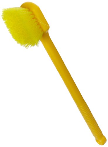 Rubbermaid Commercial Long Plastic Handle Utility Pot Scrubber Brush, Yellow