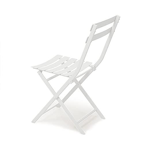 Wikidea Garden Bistro Set 3-teilige Faltbare Terrassenbalkonmöbel aus Metall im Freien weiß farbiges ESS-Patio-Set(Size:2 Chairs)