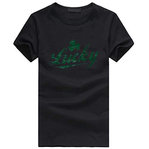 Kobay Frauen St. Patricks Day Green O-Neck Kurzarm Tank Top T-Shirt Bluse Tuniken St. Patricks Day Irish National Day Rundhals Plaid Stitching Clover Print Top