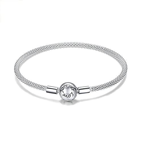 Pulsera Simplicity para Mujer Brazalete Plata Ley 925 Joyería Moda para Madre Regalo Navidad,19cm