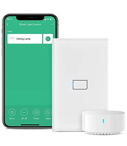 BroadLink Smart Touch Wall Switch, Interruptor monocable de 1 banda, no requiere neutro ni condensador, funciona con Alexa y Google Home, se requiere un hub(con hub)