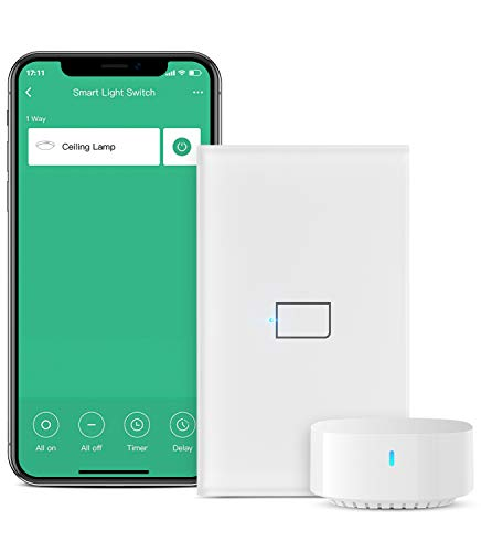 BroadLink Smart Light Switch, No Neutral Wire Required, Single Pole with App and Voice Control, 1-Gang Touch Timer Switch, Compatible with Alexa, Google Assistant, IFTTT, Siri Shortcuts, Hub Included