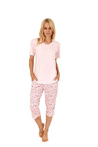 Eleganter Damen Capri Pyjama Schlafanzug Kurzarm mit Spitzenbesatz - auch in Übergrössen, Farbe:rosa, Größe:52-54