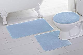 Fancy Linen 3pc Non-Slip Bath Mat Set Solid Light Blue Bathroom U-Shaped Contour Rug, Mat and Toilet Lid Cover New #Angela