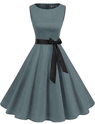 Gardenwed Damen 1950er Vintage Cocktailkleid Rockabilly Retro Schwingen Kleid Faltenrock Grey S