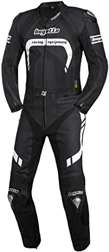 Bogotto Assen 2-Teiler Motorrad Lederkombi 60 Schwarz/Weiß