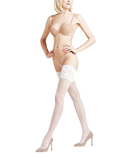 FALKE Damen Stay Ups Seidenglatt 15 Denier - Transparente, Leicht Glänzend, 1 Paar, Weiß (White 2209), Größe: L